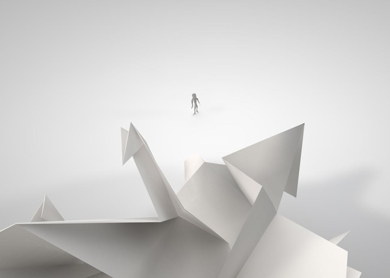 kleines Origami-Männchen in Gefahr